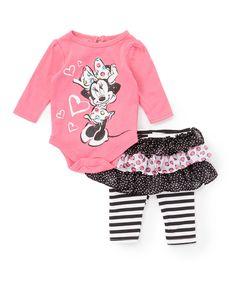 476f4c0bc786 Children s Apparel Network Pink   Black Minnie Mouse Bodysuit Set - Infant