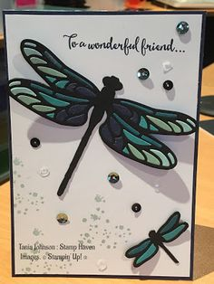 handmade greeting card by Tania Johnson at Stamp Haven ... die cut dragonfly ... luv the inlaid colored pieces in the lacy wings ... Stampin' Up!