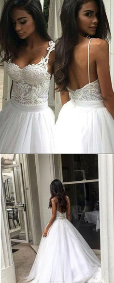 Ivory Wedding Dresses, Long Wedding Dresses, Bridal Wedding Dresses, Sexy Wedding Dresses, Tulle Wedding dresses, Sexy Long Dresses, Long Sexy Dresses, Straps Wedding Dresses, Ivory Straps Wedding Dresses, Chic Wedding Dresses Sexy Spaghetti Straps Appliques Tulle Ivory Bridal Gown