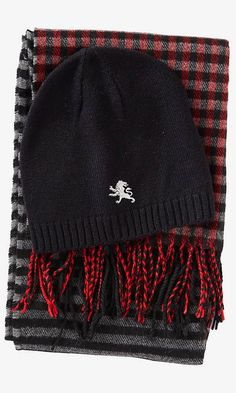 For Him: Stripe Scarf And Beanie Set Red @Express