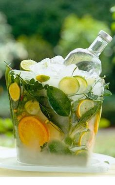 Homemade ice bucket with slices of citrus and leaves frozen into it.entertaining PERFECTION Homemade ice bucket with slices of citrus and leaves frozen into it. Wine Bucket, Fresh Farmhouse, Festa Party, Homemade Ice, Party Entertainment, Lemon Lime, Party Drinks, Party Planning, Beverages