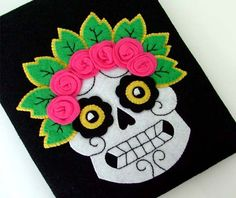 Felt iPad Case Sugar Skull Tattoo Design. $70.00, via Etsy.