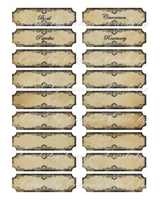 Vintage inspired tan 20 spice food glass labels you choose glossy laminated Herb Labels, Spice Labels, Harry Potter Birthday Cards, Harry Potter Christmas Decorations, Anniversaire Harry Potter, Printable Labels, Vintage Labels, Miniature Dolls, Food Storage