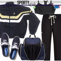 Sporty Style by oliverab on Polyvore featuring Champion, Keds, Champion Sports, vintage, sportystyle and clarendonco