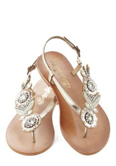 Treasure Footed Sandal - Gold, Solid, Flower, Rhinestones, Flat, Leather, Beads, Daytime Party, Beach/Resort, Summer