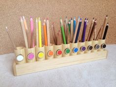 Small montessori pencil holder. Ideal for home use, where every inch of space counts. Measures only 40 cm x 9 cm or 15 inches x 3,5 inches. Each
