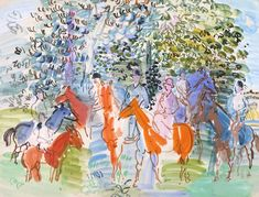 Raoul Dufy (1877‑1953), The Kessler Family on Horseback (1931), gouache on paper, 66.9 x 50 cm. Collection of Tate, UK. Via Tate.