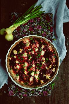 Beetroot and feta cheese quiche