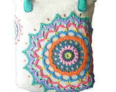 """Crochet bag """"Odessa - Pearl of the Sea"""". With colored applique decoration and beads."""