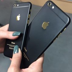 Custom iPhone matte black gold accents