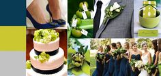 Chartreuse and navy wedding colors
