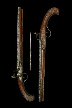 A Highly Unusual Pair Of 30-Bore Flintlock Holster Pistols. Signed Turner, Oxford, Circa 1750
