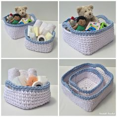 Square Crochet Baskets made with t-shirt yarn.