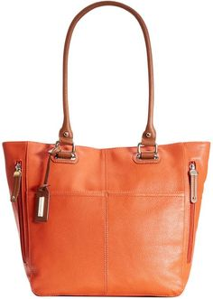 $114, Orange Leather Tote Bag: Tignanello Handbag Perfect Pocket Leather Tote. Sold by Macy's. Click for more info: http://lookastic.com/women/shop_items/124964/redirect