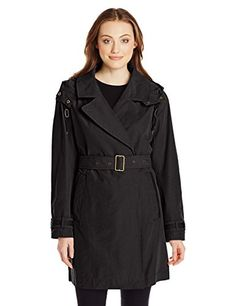 Marc New York by Andrew Marc Women's Mid-Length Belted Trench with Hood, Black, Small. This jacket's convertible notch collar, front welt pockets, hidden front button closure, storm flap, and back vent make this the perfect Spring trench style!. This trench also includes a detachable drawstring hood and long sleeves with snap cuff belts.
