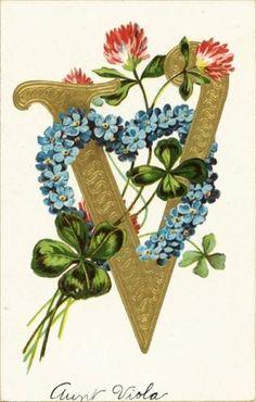 Alphabet Initial V Big Large Gold Clover Heart Letter Emb Vtg Antique Postcard Flower