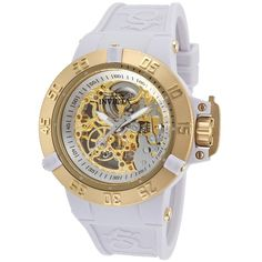 Invicta Women's Subaqua Noma Iii Mechanical White Silicone Gold-Tone... ($131) ❤ liked on Polyvore featuring jewelry, watches, white, leather-strap watches, gold tone watches, silicone strap watches, white watches and silicon watches
