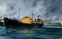 'Fireside' in the River Tyne by Tom Dack Ship Paintings, Nautical Art, Art Uk, Ship Art, Boats, Sailing, Ships, River, Sea