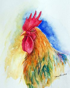 Original Watercolor Painting birds Roosters Colorful by artiart