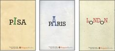 These are such simple yet very effective designs. These books are a set and you can tell by the consistency of them. They are so simple with the title in the middle of the cover and capital letters to resemble each icon of the place, for example Paris has a capital A which looks like the Ifle Tower.