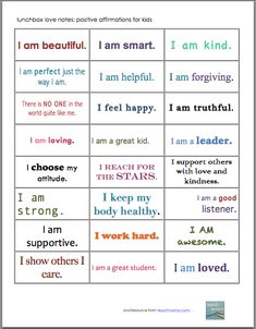 Astrology Discover positive affirmation notes for kids: lunchbox love - teach mama positive affirmation notes for kids: lunchbox love Positive Affirmations For Kids, Positive Affirmations Quotes, Words Of Affirmation, Positive Words, Positive Quotes, Kids Am, Tough Day, Yoga For Kids, Yoga Girls