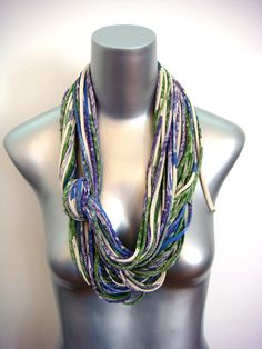 Infinity Circle Scarf Loop - Fabric Necklace - Peacock Blue Green