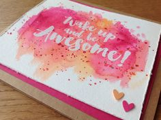 Lovely crafts, pink und orange, wake UP and be awesome, Karte, Gute Laune Karte, www.lovelycrafts.de