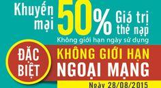 Viettel khuyến mãi tặng 50% giá trị thẻ nạp ngày 28/08/2015 - 3G Viettel