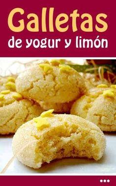 Yogurt and Lemon Cookies - Cocina - Recetas Sweet Cookies, Lemon Cookies, Mexican Cookies, Cookie Recipes, Dessert Recipes, I Chef, Tasty, Yummy Food, Galette