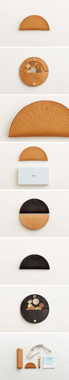 Protractor shape and ruler shape purses. 分度器