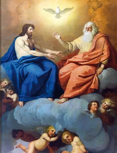 This is a picture of Jesus and God. I relate to this picture because i do believe that in Heaven, Jesus and God are not 1 physically, but spiritually they are. When Jesus was on Earth he brought a part of God with him. Catholic Pictures, Jesus Pictures, Mary And Jesus, Jesus Is Lord, Catholic Art, Religious Art, William Blake Art, Atheist Humor, Atheist Agnostic