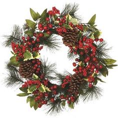J&M, Faux Berry and Pine Wreath