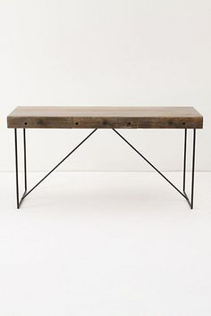 """Bodhi Desk // Reading, writing and researching have never looked as chic as they do when you're perched behind this three-drawer wonder, handcrafted from reclaimed wood and pencil-thin iron legs. Reclaimed wood, metal 29""""H, 60""""W, 22""""D"""