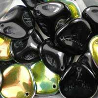Czech glass rose petals in Jet Vitrail, 14mm x 13mm.  Petal-shaped drop beads have one side in opaque black and the other in metallic green-gold iris. UK seller.