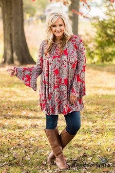 Curvy  Mia Paisley Print Tunic/Dress - Red
