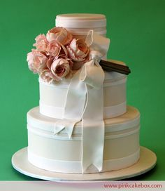 Cabbage Rose Bouquet Wedding Cake by Pink Cake Box