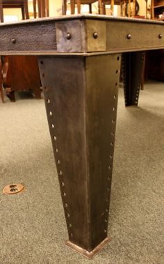 Heavy Industrial French Steel Dining Table | From a unique collection of antique and modern dining room tables at http://www.1stdibs.com/furniture/tables/dining-room-tables/