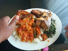 Grilled fish with watercress tomato sauce & rice