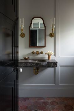 The Powder Room - Park and Oak Interior Design Beautiful Bathrooms, Modern Bathroom, Small Bathroom, Master Bathrooms, Marble Bathrooms, Luxury Bathrooms, Houzz Bathroom, 1920s Bathroom, Paris Bathroom