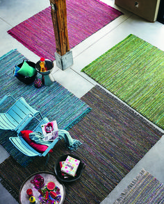 Each #Playa #rug is #handwoven using re-used #cotton #fabrics and finished with matching fringes. #Carpet