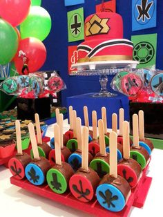 Power Rangers Samurai Birthday Party via Kara's Party Ideas KarasPartyIdeas.com Cake, supplies, decor, favors, food, and more! #powerrangers #powerrangersparty #samuraiparty (8)