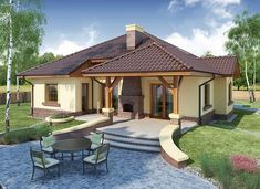 Ramzes - zdjęcie 3 House Outside Design, Simple House Design, House Front Design, Modern Bungalow House, Bungalow House Plans, My House Plans, Modern House Plans, Cottage Plan, Cottage Homes
