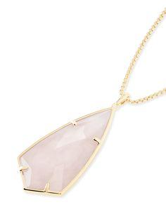 Carole Long Pendant Necklace in Rose Quartz - Kendra Scott Jewelry