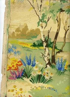 Vintage hand painted 1930s wallpaper