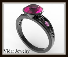 Black Gold Engagement Ring With Pink Stone-Unique Sapphire Engagement Ring by Vidarjewelry on Etsy