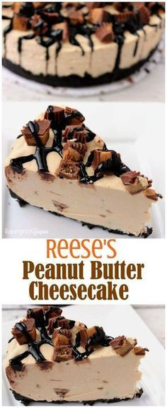 Reese's Peanut Butter No Bake Cheesecake - Full of chocolate, creamy Reese's and more! Kid friendly recipe.