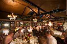 For a rustic lodge wedding reception, don't forget the string lights. | Whiteface Club & Resort in Lake Placid, NY