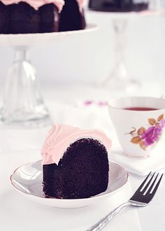 Dark Chocolate & Rosewater Chiffon Cake-maybe use for cupcakes. The frosting looks great!!!