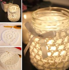 These Crochet Bowl Covers will come in so handy and they look so cute. Check out the Crochet Jar covers too. Crochet Bowl, Crochet Diy, Crochet Gifts, Crochet Decoration, Crochet Home Decor, Mason Jar Crafts, Mason Jars, Support Bougie, Crochet Jar Covers