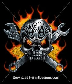 Metal Skull Wrench Flames. Like this Design? Download now at: http://downloadt-shirtdesigns.com/all-designs/downloadt-shirtdesigns-com-2121196.html